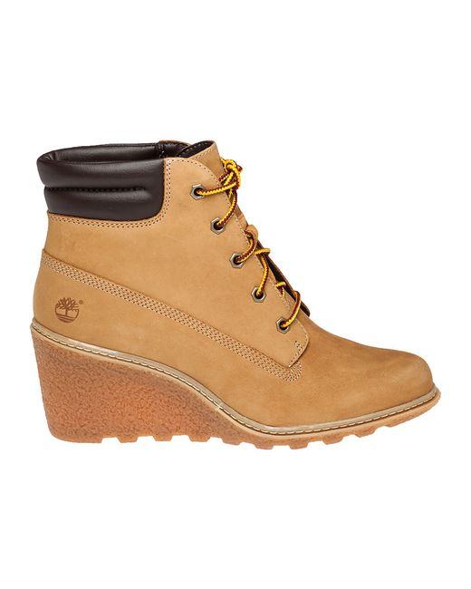 timberland amston leather wedge boots in beige wheat lyst