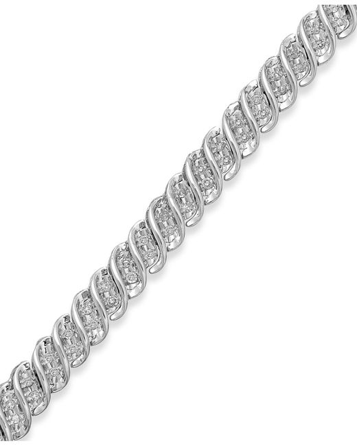 Macy's | Diamond S-link Bracelet In 10k Gold Or White Gold (1/2 Ct. T.w.) | Lyst