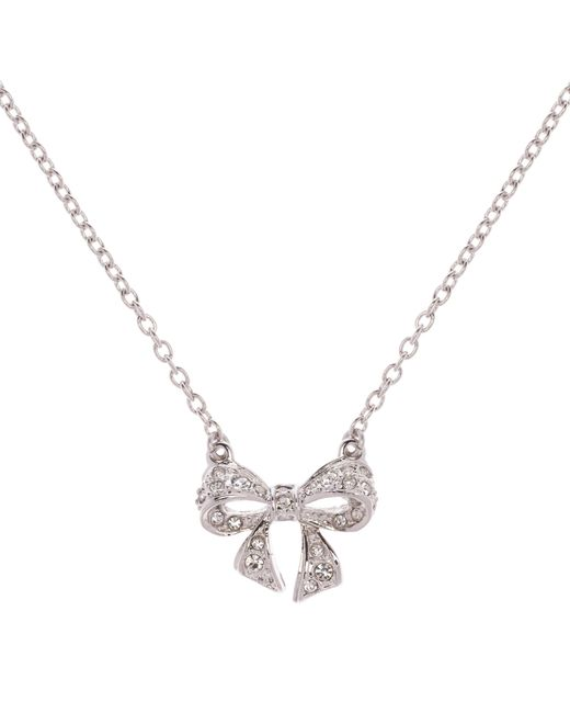 Ted Baker | White Pepena Pave Crystal Bow Necklace | Lyst