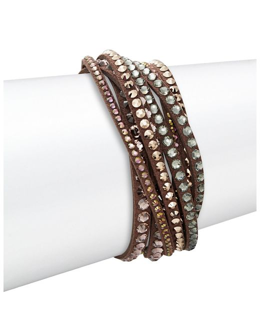Swarovski | Brown Slake Crystal Wrap Bracelet | Lyst
