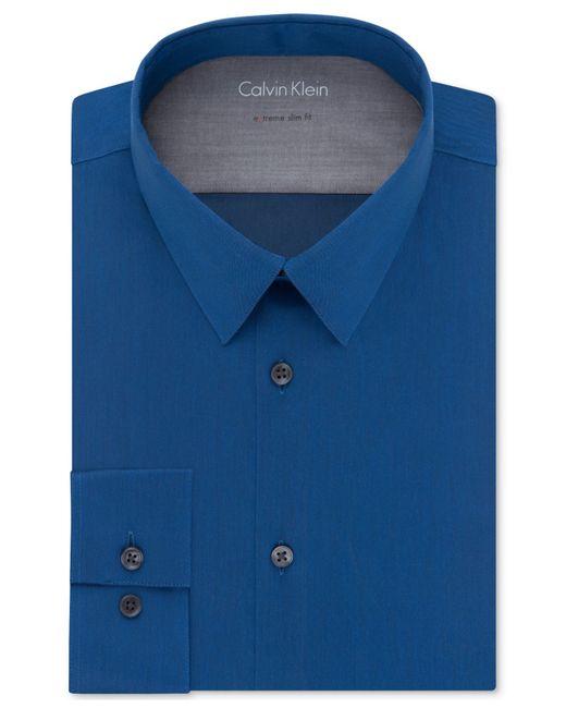 Calvin klein x extra slim fit blue solid dress shirt in for Extra slim dress shirt