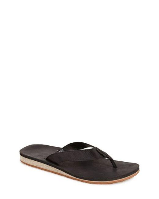 Teva | Black 'classic Flip' Leather Flip Flop for Men | Lyst