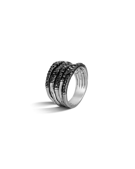 John Hardy | Metallic Bamboo Silver Lava Wide Ring With Black Sapphire | Lyst