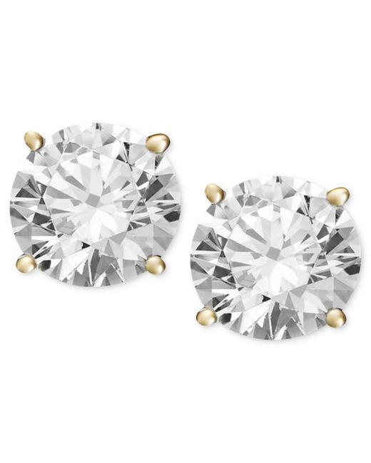 Macy's | Metallic Diamond Stud Earrings (1/2 Ct. T.w.) In 14k White Gold Or Gold | Lyst