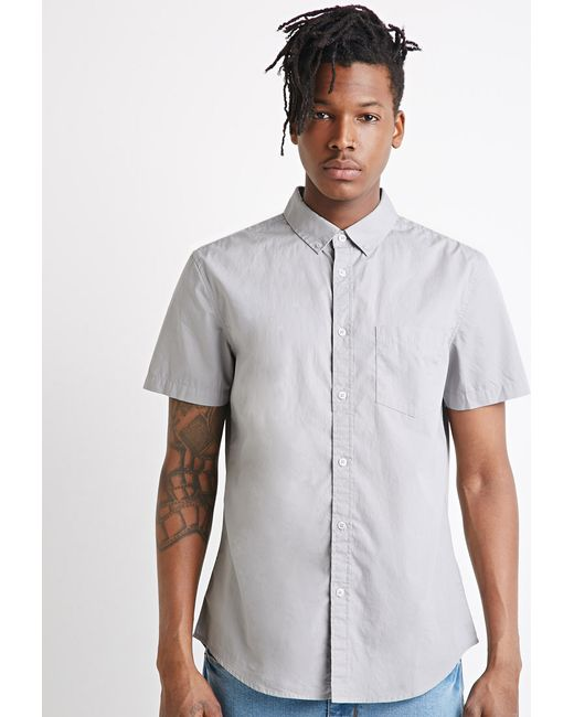 Forever 21 | Gray Button-collar Shirt for Men | Lyst