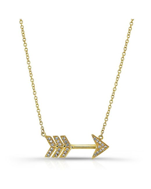Anne Sisteron   Metallic 14kt Yellow Gold Diamond Large Arrow Necklace   Lyst