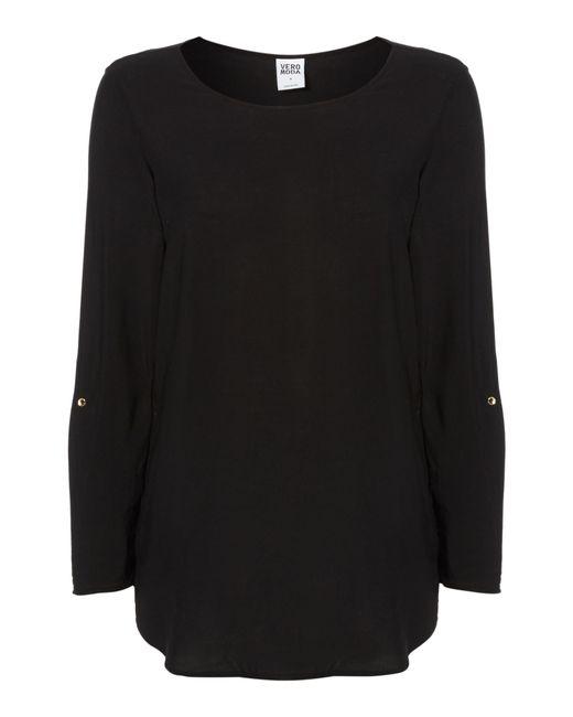 Vero Moda | Black 3/4 Sleeve Fold Up Blouse | Lyst