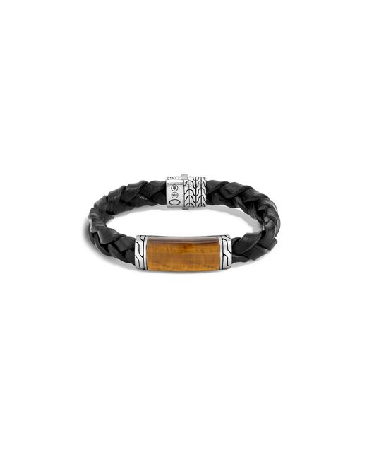John Hardy | Batu Classic Chain Sterling Silver Rectangular Station Bracelet On Braided Black Leather With Tiger Eye Pusher Clasp for Men | Lyst