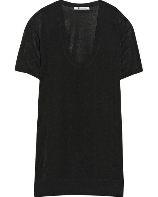 T By Alexander Wang | Black Cotton-jersey T-shirt | Lyst
