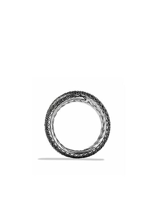 David Yurman | Crossover Ring With Black Diamonds In 18k White Gold | Lyst