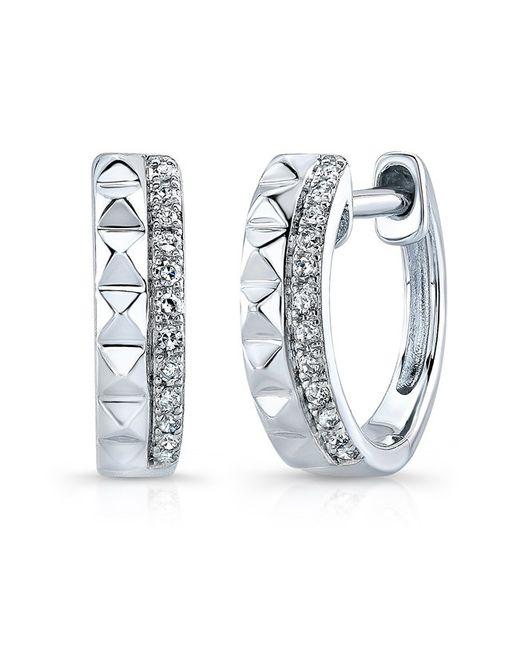Anne Sisteron | Metallic 14kt White Gold Spike & Diamond Huggie Earrings | Lyst