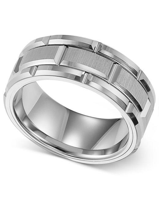 Triton Wedding Band Tungsten Carbide Black Ceramic 8mm: Triton 8mm White Tungsten Wedding Band In White For Men