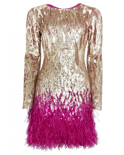 Matthew Williamson | Gold Liquid Sequin Feather Trimmed Mini Dress | Lyst