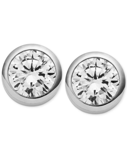 Michael Kors | Metallic Crystal Bezel Stud Earrings | Lyst