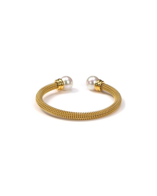 Majorica | Metallic White Simulated Pearl Cuff | Lyst