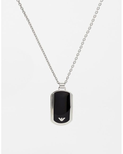 Emporio Armani | Black Dogtag Necklace - Silver for Men | Lyst