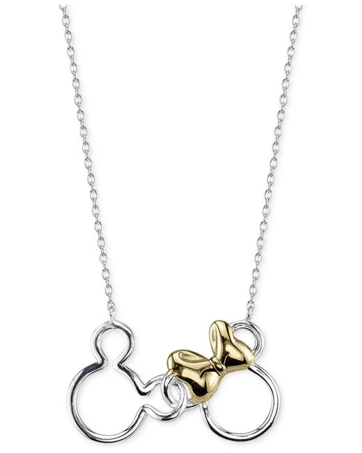 disney mickey and minnie mouse necklace in sterling silver