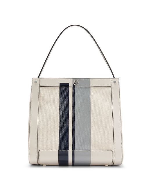 Tory Burch | Gray Leather Stripe Tote | Lyst