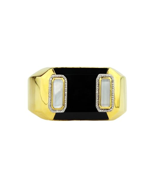 Kara Ross | Black Cava Cuff With Onyx And Rock Crystal Inset | Lyst