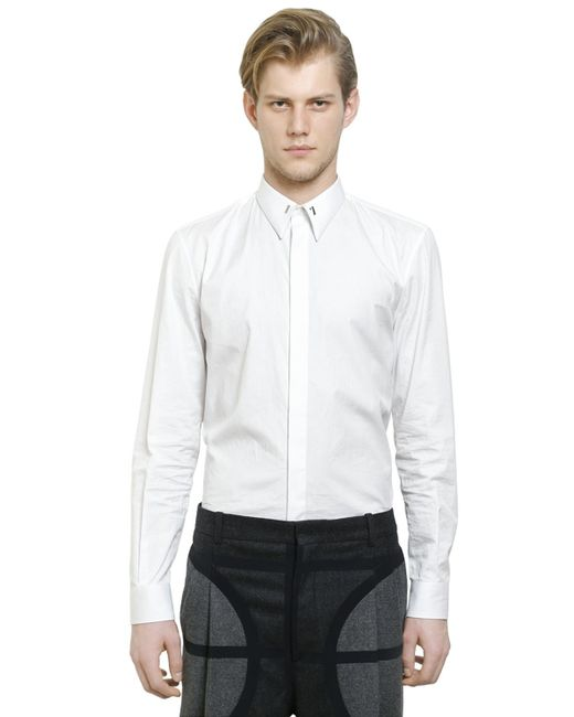 givenchy cuban fit 17 cotton poplin shirt in white for men lyst. Black Bedroom Furniture Sets. Home Design Ideas
