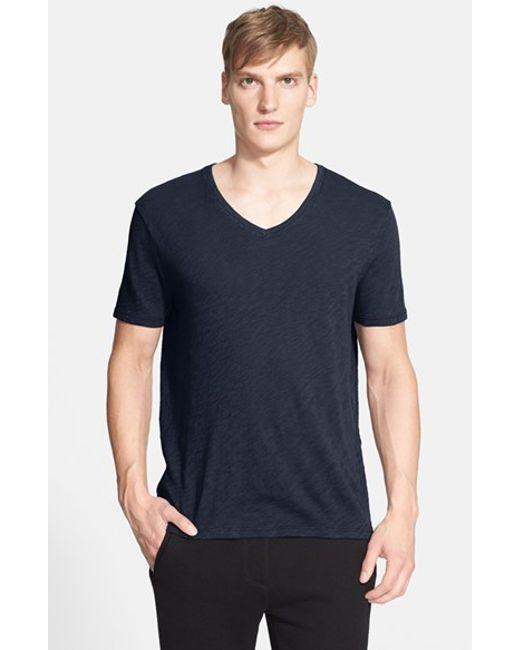ATM | Purple Slub V-neck T-shirt for Men | Lyst
