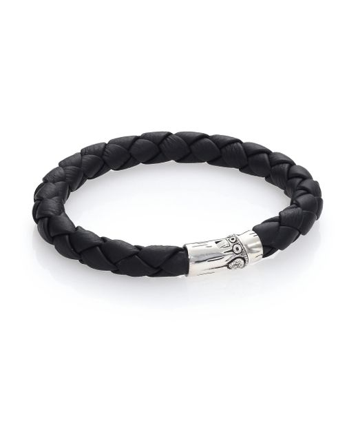 John Hardy | Black Bamboo Woven Leather And Sterling Silver Bracelet for Men | Lyst