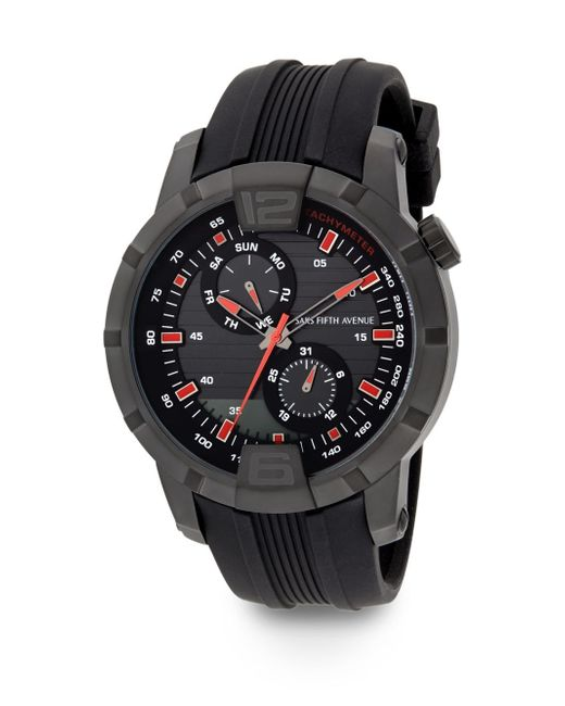 Saks Fifth Avenue | Blackened Stainless Steel & Rubber Multi-function Watch | Lyst