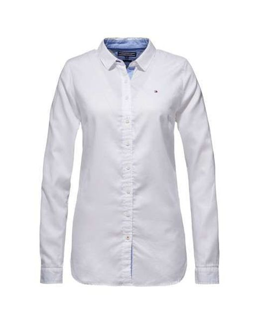 Tommy hilfiger jenna shirt in white lyst for Tommy hilfiger shirt size