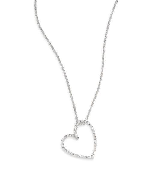 Saks Fifth Avenue | Metallic Diamond & 14k White Gold Open Heart Necklace | Lyst