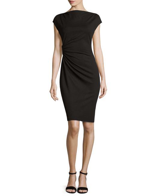Lafayette 148 New York | Black Cap-sleeve Ruched Dress | Lyst