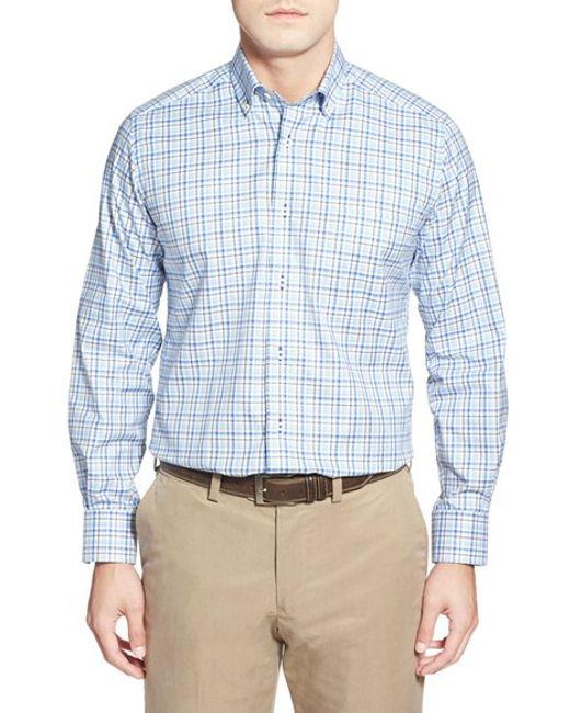 David Donahue Regular Fit Long Sleeve Plaid Sport Shirt In