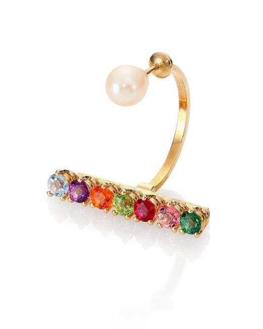 Delfina Delettrez   Gold Vein Multicolor Topaz, Peridot & 4mm White Freshwater Pearl Single Earring   Lyst