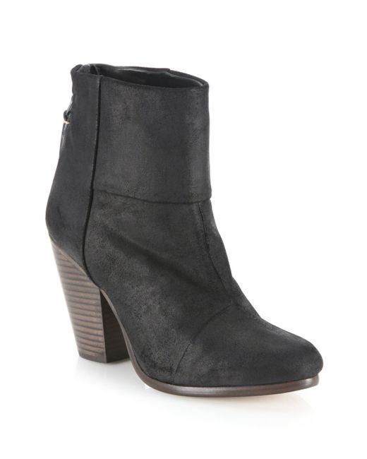 rag bone newbury waxed suede booties in black lyst