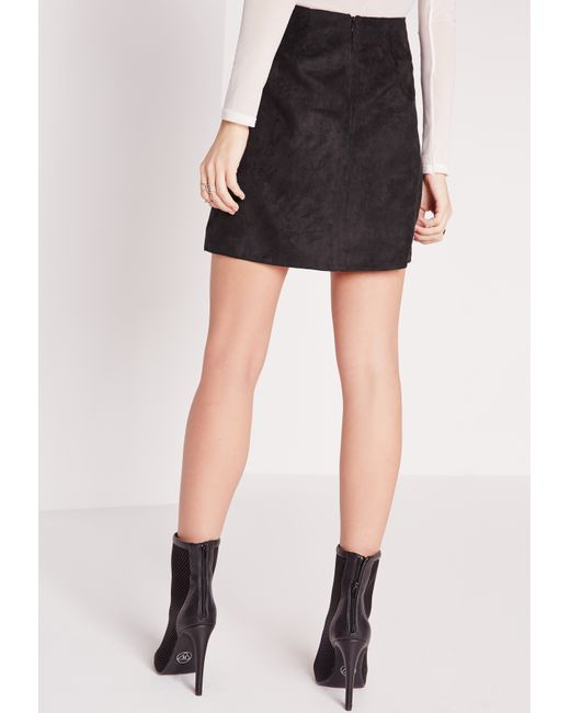 missguided faux leather suede panel a line skirt black in
