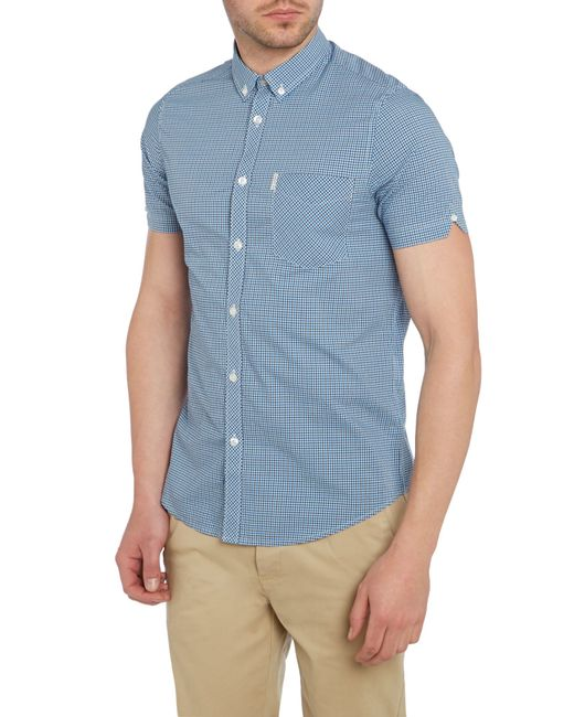 Ben Sherman | Blue Mini Mod Check Short Sleeve Shirt for Men | Lyst