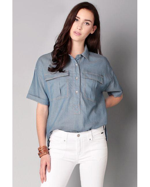 pepe jeans shirt blouse in blue lyst. Black Bedroom Furniture Sets. Home Design Ideas