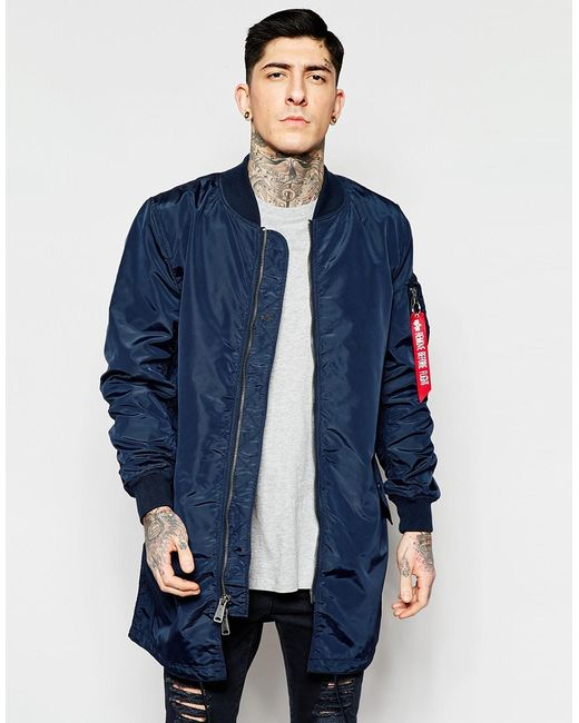 Alpha industries Ma1 Bomber Jacket Slim Fit In Navy in ...