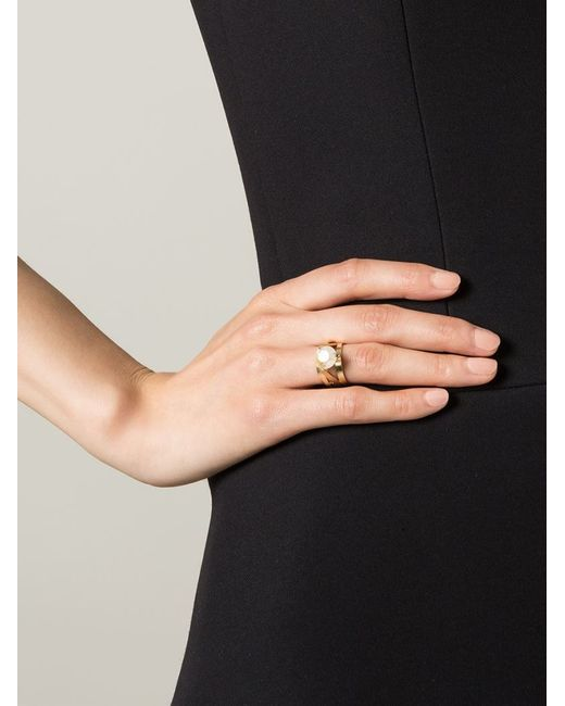 Wouters & Hendrix | Metallic 'bamboo' Rutilated Quartz Set Of Two Rings | Lyst