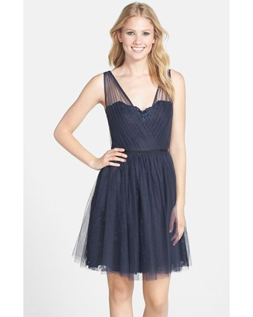 Monique Lhuillier Bridesmaids | Blue Tulle Overlay Lace Fit & Flare Dress | Lyst