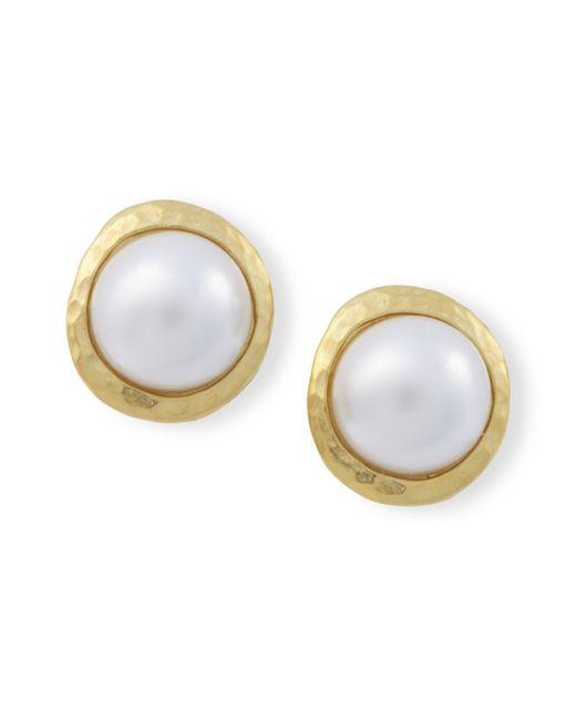 Kenneth Jay Lane | Metallic Pearl Button Clip Earrings | Lyst