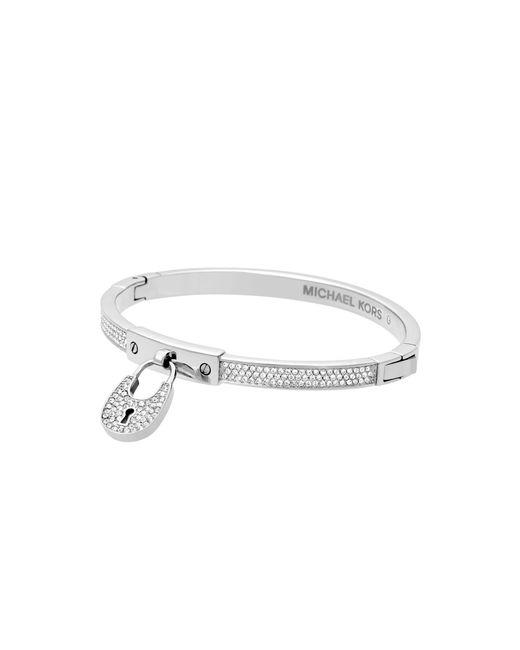 Michael Kors | Brown Cubic Zirconia Silver-tone Slider Bracelet | Lyst