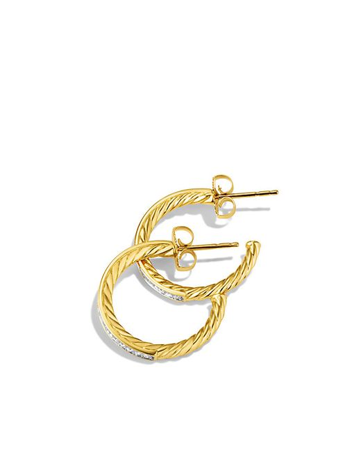 David Yurman | Metallic Sculpted Cable Medium Hoop Earrings With Diamonds In Gold | Lyst