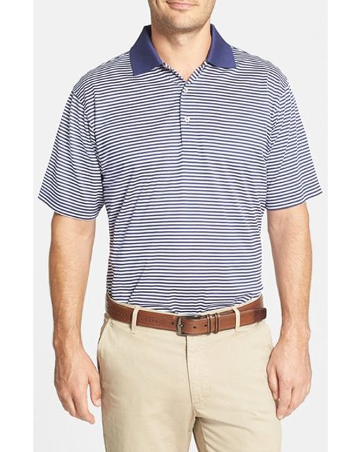 Peter Millar | Blue 'Classic Stripe' Egyptian Cotton Lisle Polo for Men | Lyst