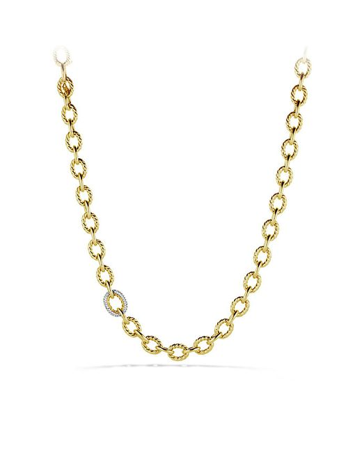 David Yurman | Metallic Large Oval Link Necklace With Diamonds In 18k Gold | Lyst