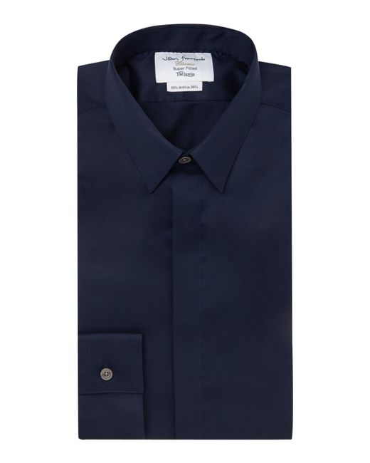 Tm Lewin Plain Tailored Fit Long Sleeve Shirt In Blue For