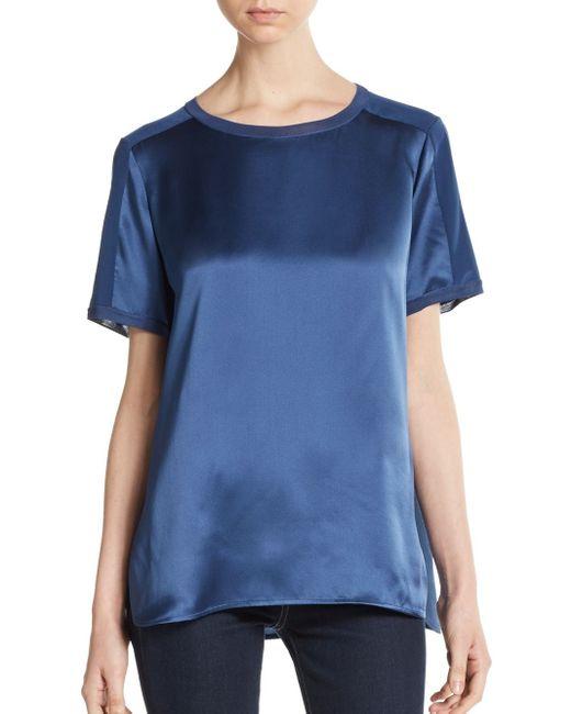 VINCE | Blue Silk Tonal-trim Top | Lyst