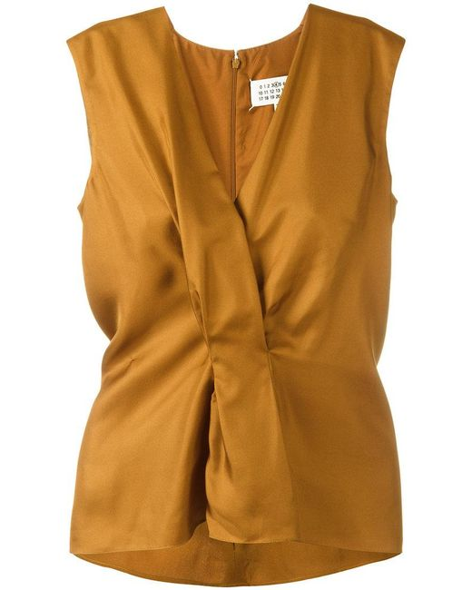 Maison Margiela   Brown Pleated Front Sleeveless Blouse   Lyst