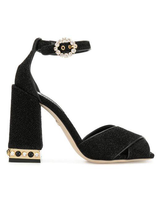 Dolce & Gabbana - Black Block Heel Sandals - Lyst