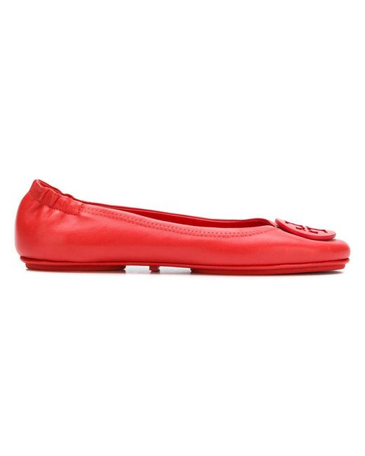 16f061ace028da Tory Burch Minnie Travel Ballet Flats in Red - Save 29% - Lyst