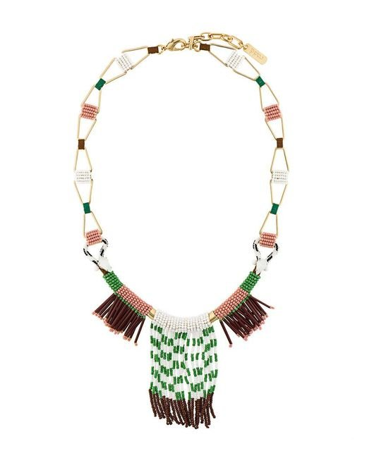 Rada' - Green Fringed Elongated Necklace - Lyst